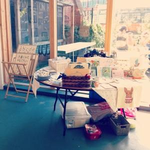 Our pretty stall in a sunny corner